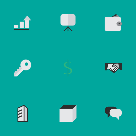 Vector Illustration Set Of Simple Business Icons. Elements Opening, Purse, Talking And Other Synonyms Purse, Easel And Board. Иллюстрация