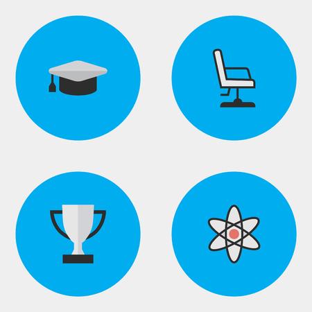 벡터 일러스트 레이 션 간단한 교육 아이콘의 집합입니다. 요소 분자, 받침, 안락 의자 및 기타 동의어 학술, 수상 및 핵.