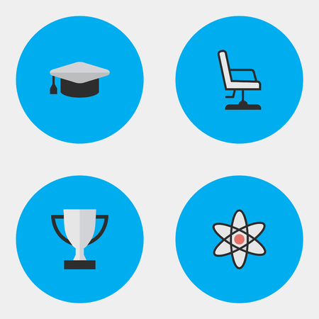 Vector Illustration Set Of Simple Education Icons. Elements Molecule, Goblet, Armchair And Other Synonyms Academic, Award And Nuclear.