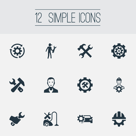 repeatability: Vector Illustration Set Of Simple  Icons. Elements Rotate, Gear, Worker And Other Synonyms Repair, Garage And Foreman.