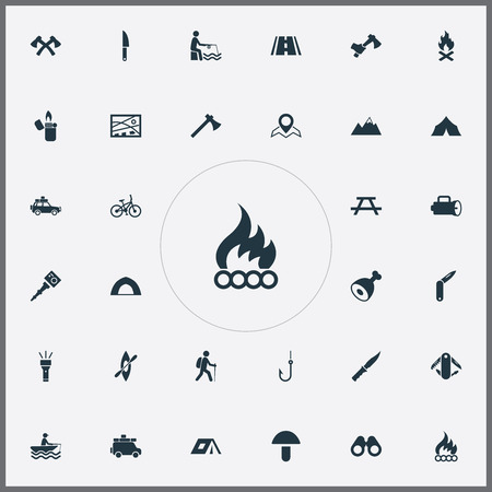 Vector Illustration Set Of Simple Camp Icons. Elements Fisherman Tackle, Bonfire, Fisherman And Other Synonyms Crossed, Kayak And Blade.