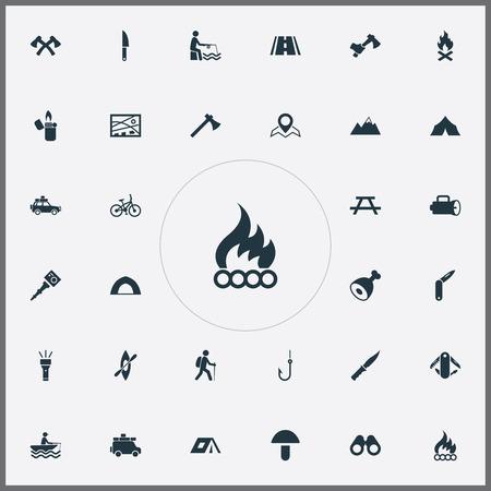 Vectorillustratiereeks Eenvoudige Kamppictogrammen. Elementen Fisherman Tackle, Bonfire, Fisherman And Other Synoniemen Crossed, Kayak And Blade. Stock Illustratie