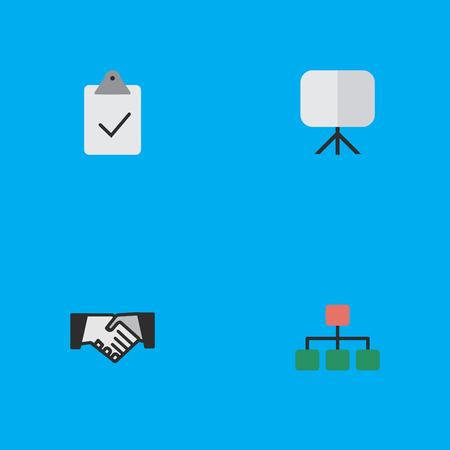 Illustration vectorielle définie des icônes simples de l'entreprise. Éléments Structure, chevalet, accord et autres synonymes Poignée de main, peinture et graphique. Banque d'images - 82821698