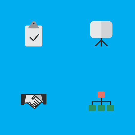 Vector Illustration Set Of Simple Business Icons. Elements Structure, Easel, Agreement And Other Synonyms Handshake, Painting And Graph. Illustration