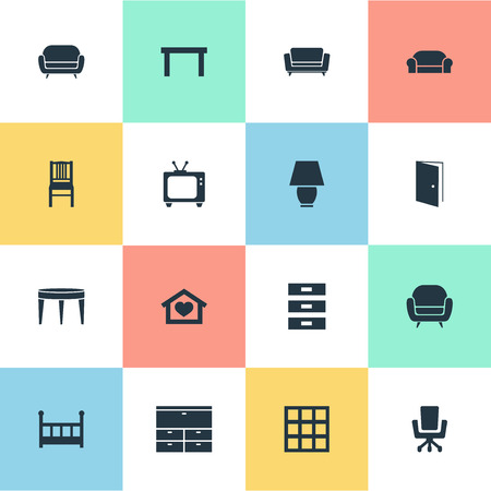 Vector Illustration Set Of Simple Furniture Icons. Elements Dwelling, Tv, Seat And Other Synonyms Container, Locker And Home.