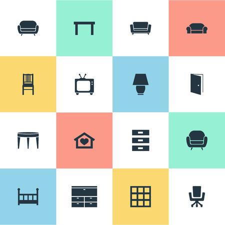 Vectorillustratiereeks Eenvoudige Meubilairpictogrammen. Elements Dwelling, Tv, Seat And Other Synoniemen Container, Locker And Home.