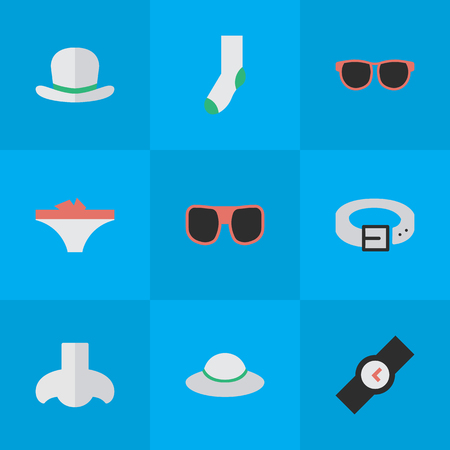 Vector Illustration Set Of Simple Equipment Icons. Elements Lingerie, Eye Accessory, Smell And Other Synonyms Sock, Woman And Wristwatch.
