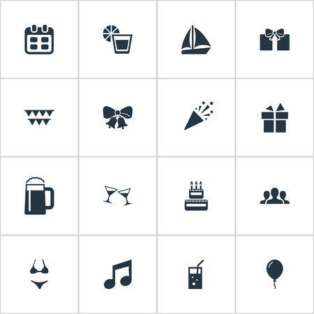 Vector Illustration Set Of Simple Party Icons. Elements Surprise, Carbonated Drink, Community And Other Synonyms Celebration, Decoration And Tumbler.