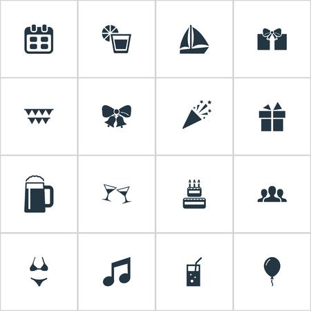 Vector illustratie Set van eenvoudige partij iconen. Elements Surprise, Carbonated Drink, Community And Other Synoniemen Celebration, Decoration And Tumbler.