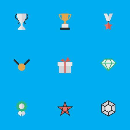 Vector Illustration Set Of Simple Reward Icons. Elements Medal, Brilliant, First And Other Synonyms Precious, Brilliant And Surprise. Illustration