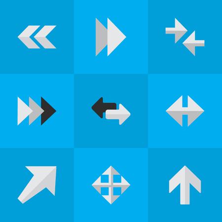 Illustrazione vettoriale Set di icone semplici del cursore. Elements Indicator, Widen, Onward e altri sinonimi verso l'alto, esportare e ampliare. Archivio Fotografico - 82821706