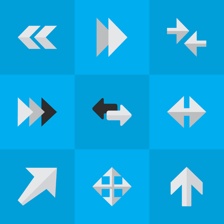 Vector Illustration Set Of Simple Cursor Icons. Elements Indicator, Widen, Onward And Other Synonyms Upward, Export And Widen. 向量圖像