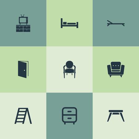 シンプルな家具のアイコンのベクトル イラスト セット。要素 Easychair、エレガントなスタイルは、日光浴やその他の類義語ベッド階段とビンテージ  イラスト・ベクター素材