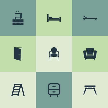Vector Illustration Set Of Simple Furniture Icons. Elements Easychair, Elegant Style, Sunbathing And Other Synonyms Bed, Stairs And Vintage.