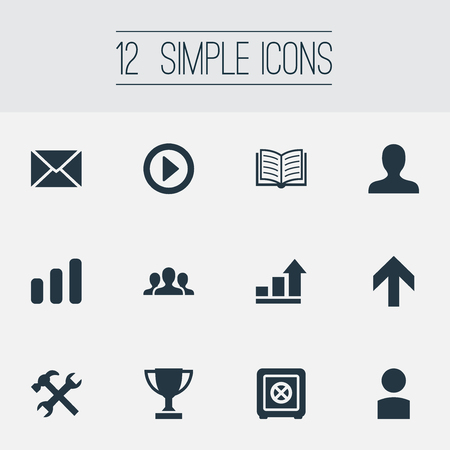 Vector Illustration Set Of Simple Startup Icons. Elements Upward Direction, Strongbox, Winner And Other Synonyms Winner, Diagram And Repair.