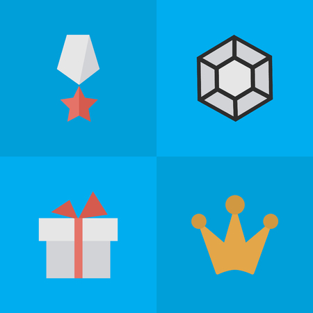 Vector Illustration Set Of Simple Reward Icons. Elements Brilliant, Corona, Present And Other Synonyms Gift, Diamond And Precious.