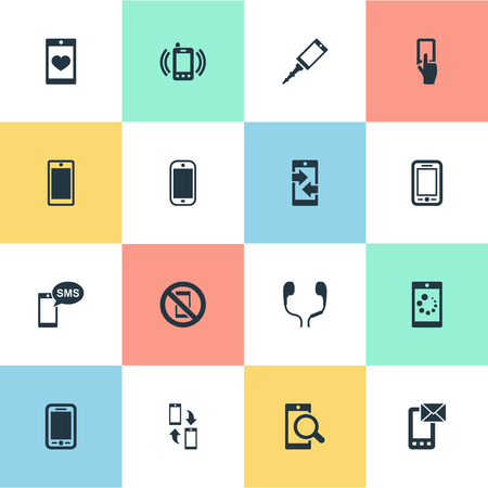 Vector Illustration Set Of Simple  Icons. Elements Outgoing Calls, Forbidden, Screen And Other Synonyms Telephone, Sms And Incoming. Иллюстрация