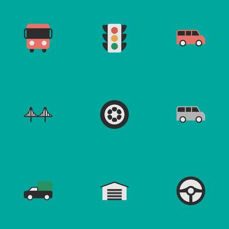 シンプルな交通アイコンのベクター イラスト セット。要素、もらえてよかった、ホイールと他の類義語トラック ジャンパーとホイール。