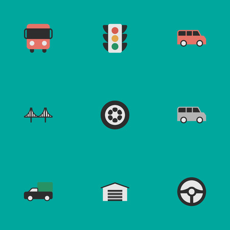 Vector Illustration Set Of Simple Traffic Icons. Elements Bridgework, Autobus, Wheel And Other Synonyms Truck, Jumper And Wheel.