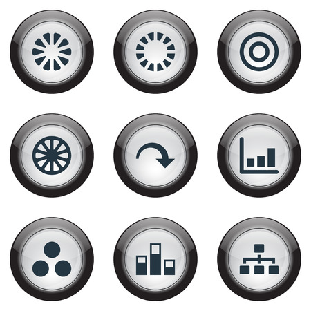 Vector Illustration Set Of Simple  Icons. Elements Truck, Part, Contour And Other Synonyms Circle, Statistics And Decrease.