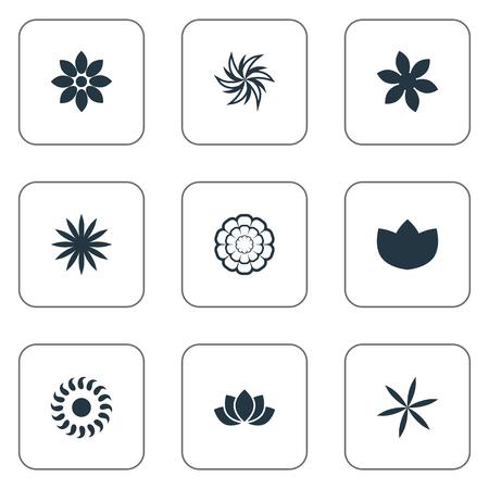 벡터 일러스트 레이 션 간단한 꽃 아이콘의 집합입니다. 요소 Gerberas, 로렐, 사프란 및 기타 동의어 마거리트, 자연 및 모란.