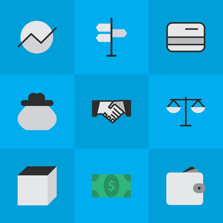 Vector Illustration Set Of Simple Job Icons. Elements Agreement, Direction, Wallet And Other Synonyms Diagram, Decision And Pay. Illustration