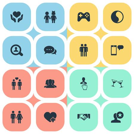 벡터 일러스트 레이 션 간단한 동료 아이콘 집합입니다. 요소 어린이, 이야기, 추가 및 기타 동의어 휄로우, 검색 및 커뮤니티.