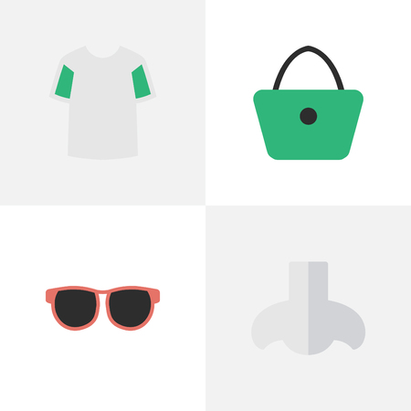 Vector Illustration Set Of Simple Instrument Icons. Elements Glasses, Smell, Woman Bag And Other Synonyms Scent, Smell And Sunglasses.