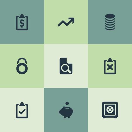単純な金融アイコンのベクター イラスト セット。要素の増加、収益、監督一覧、他の同義語は、文書、金融と増加します。