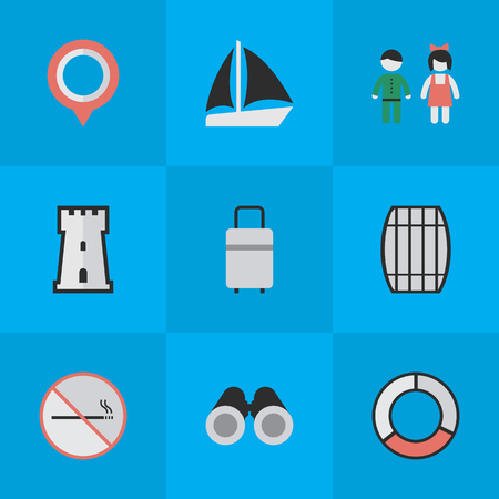 Vector Illustration Set Of Simple Travel Icons. Elements Smoke Forbidden, Baggage, Schooner And Other Synonyms Mark, Bag And Tower.