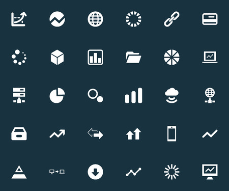 Vector Illustration Set Of Simple Business Icons. Elements Progress, Internet Server, Download And Other Synonyms Preloader, Link And Card.