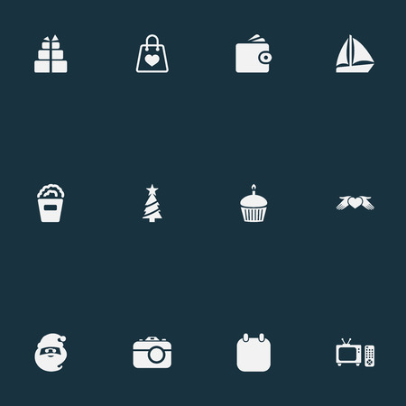 Vector Illustration Set Of Simple  Icons. Elements Photo Camera, Wallet, Calendar And Other Synonyms Star, Gift And Yacht. Illustration