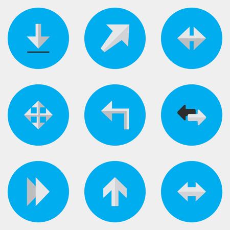 単純なカーソル アイコンのベクター イラスト セット。上向きの要素の向き、前方および他の同義語ダウンロード, Everyway と左。