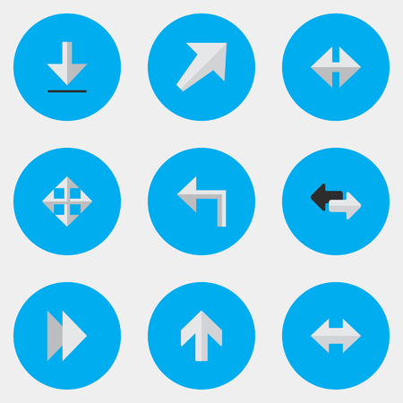 Vector Illustration Set Of Simple Cursor Icons. Elements Upwards, Orientation, Forward And Other Synonyms Download, Everyway And Left. 向量圖像