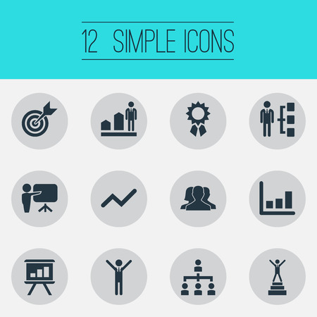 Vector Illustration Set Of Simple Winner Icons. Elements Victory, Architecture, Presentation And Other Synonyms Increase, College And Skills.