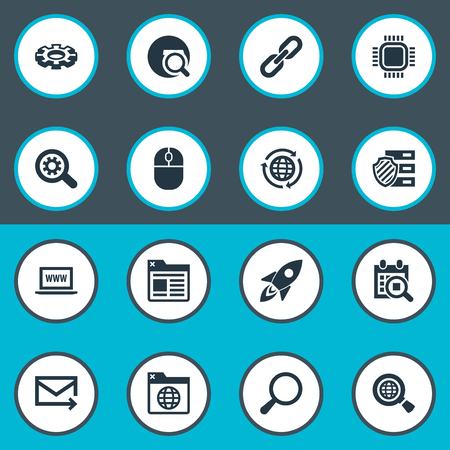 Vector Illustration Set Of Simple Search Icons. Elements Reroute, Clipboard, Motherboard And Other Synonyms Space, Internet And Cursor. Illustration