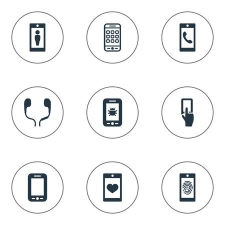 シンプルなアイコンのベクター イラスト セット。類義語など、携帯用コネクタ接触要素ウイルス ウイルスとメニュー。
