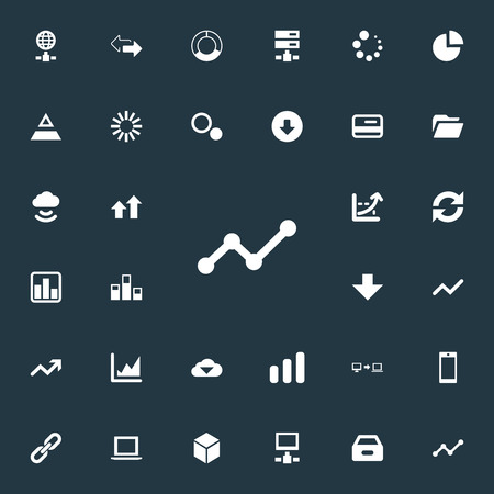 Vector Illustration Set Of Simple Data Icons. Elements Plastic Money, Cycle Chart, Progress And Other Synonyms Spread, Fiqure And Storage.