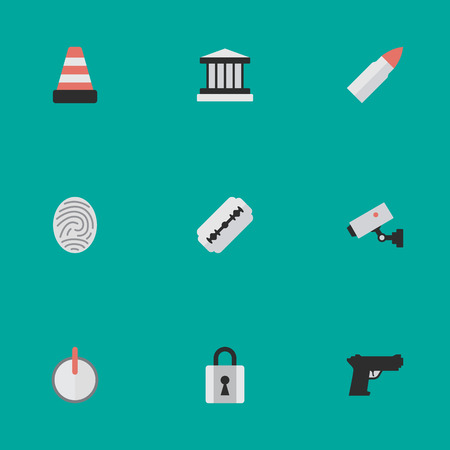 Vector Illustration Set Of Simple Criminal Icons. Elements Grille, Blade, Weapon And Other Synonyms Closed, Blade And Password.