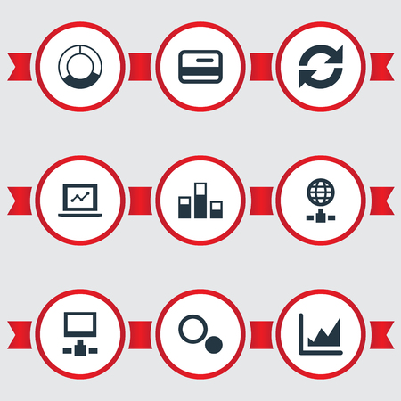 Vector Illustration Set Of Simple Data Icons. Elements Presentation, Refresh, Statistics And Other Synonyms Data, Chart And Circle. Illusztráció