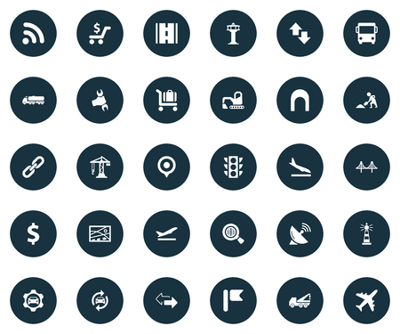 Vector Illustration Set Of Simple Transportation Icons. Elements Professional Mechanic, Reverse Directions, Aviation And Other Synonyms Highway, Transport And Aviation. Illustration