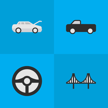 Vector Illustration Set Of Simple Shipping Icons. Elements Bridgework, Truck, Steering And Other Synonyms Automobile, Coupe And Car.
