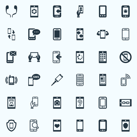 Vector Illustration Set Of Simple Telephone Icons. Elements Numbers, Portable Connector, Letter And Other Synonyms Antivirus, Bug And Security.