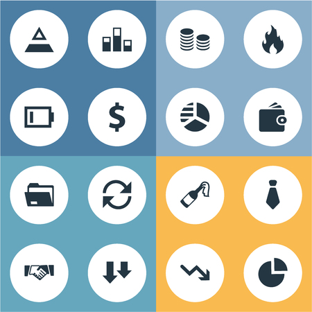Vector Illustration Set Of Simple Trouble Icons. Elements Rotation, Wealth, Recession And Other Synonyms Binder, Wallet And Cents.
