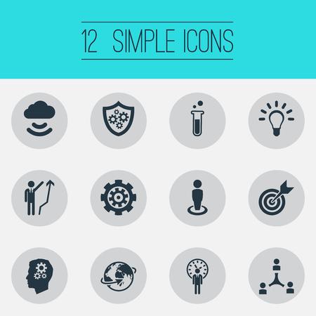 벡터 일러스트 레이 션 간단한 발명 아이콘의 집합입니다. 요소 마감일, 글로벌, 대상 및 기타 동의어 사업가, 튜브 및 창의력.