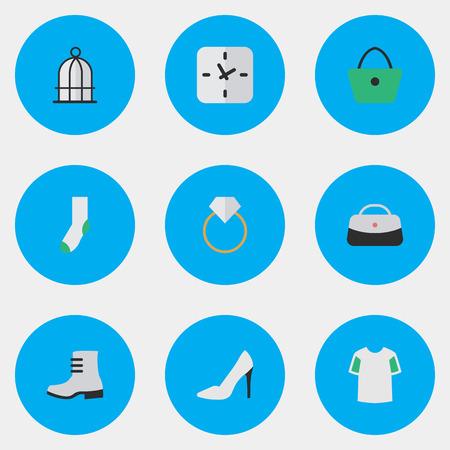 벡터 일러스트 레이 션 간단한 장비 아이콘의 집합입니다. 요소 양말, 새장, 시간 및 기타 동의어 셔츠, 따뜻하고 여자. 일러스트