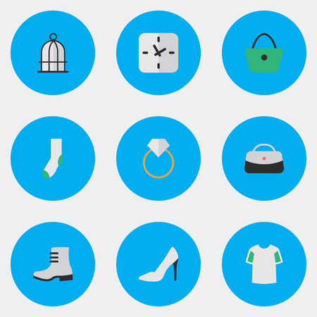 Vector Illustration Set Of Simple Equipment Icons. Elements Sock, Birdcage, Time And Other Synonyms Shirt, Warm And Woman. Ilustração