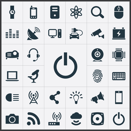 単純なハイテック アイコンのベクター イラスト セット。要素は、クロック、制御装置、電球類義語を手の心、モデムおよび拡声器。