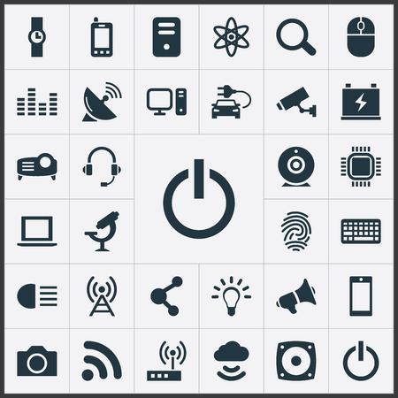 벡터 일러스트 레이 션 간단한 Hitech 아이콘의 집합입니다. 요소 손 시계, 제어 장치, 전구 동의어 마음, 모뎀 및 물러나. 스톡 콘텐츠 - 82821832