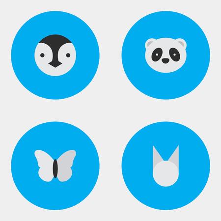 単純な動物アイコンのベクター イラスト セット。要素猫、蛾、クマやその他の類義語ペンギン蛾とパンダ。